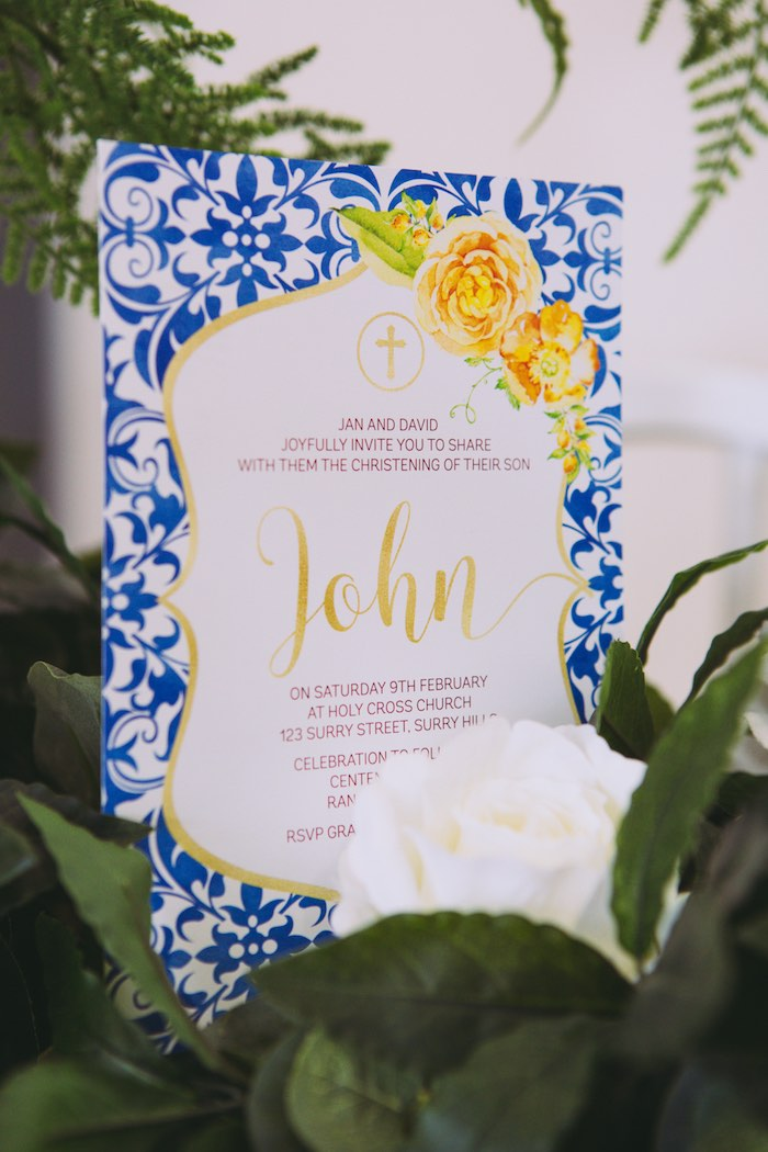 Blue Floral Signage from a Floral Christening Party on Kara's Party Ideas | KarasPartyIdeas.com (5)
