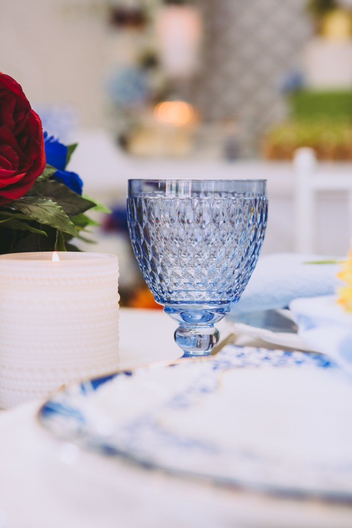 Blue Crystal Goblet from a Floral Christening Party on Kara's Party Ideas | KarasPartyIdeas.com (4)