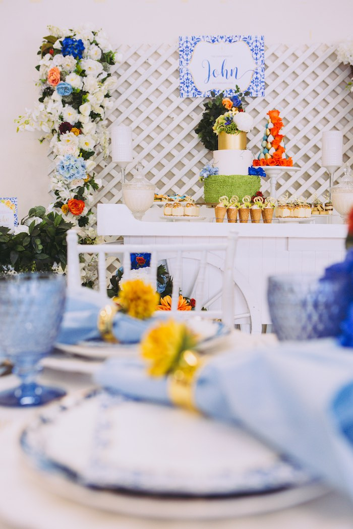 Dessert Table from a Floral Christening Party on Kara's Party Ideas | KarasPartyIdeas.com (26)
