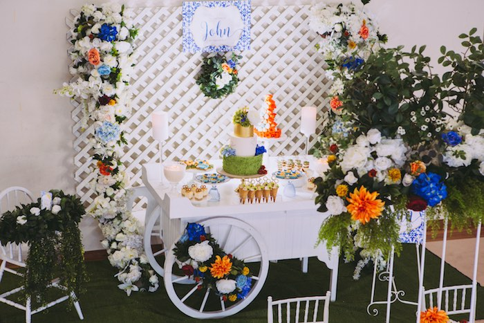 Floral-inspired Dessert Cart from a Floral Christening Party on Kara's Party Ideas | KarasPartyIdeas.com (21)