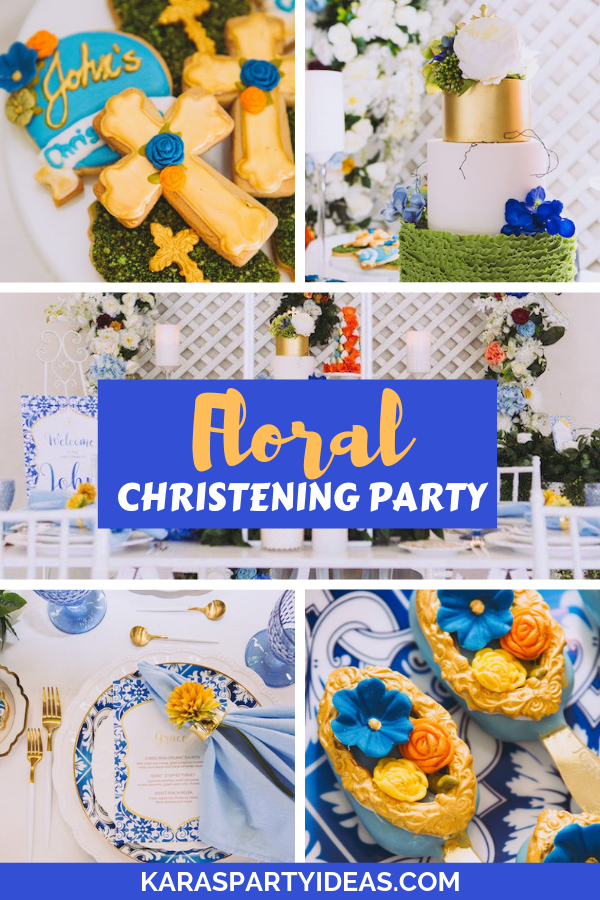 Floral Christening Party via Kara's Party Ideas - KarasPartyIdeas.com