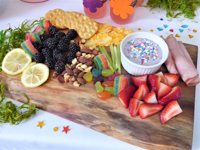 Full Snack Board from a Trolls Themed Spa Party for Girls on Kara's Party Ideas | KarasPartyIdeas.com