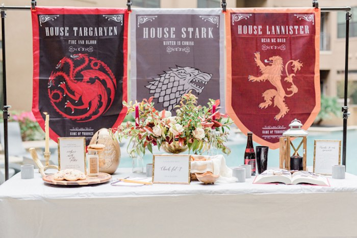 Game of Thrones Party Table from a Game of Thrones Wrap Party on Kara's Party Ideas | KarasPartyIdeas.com (21)