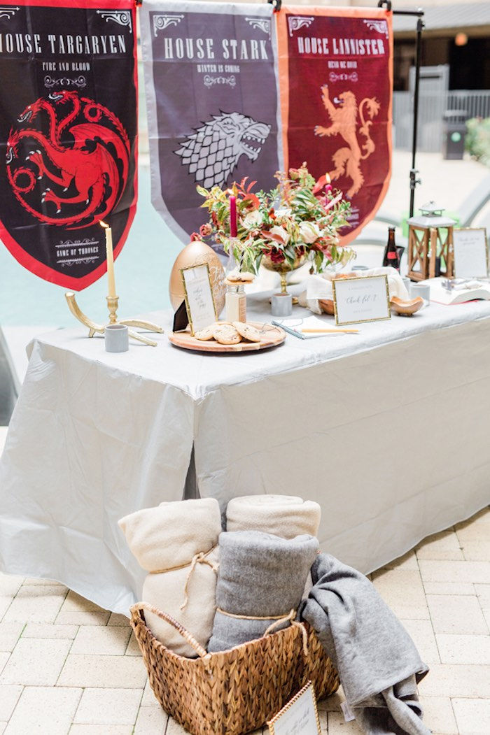 Game of Thrones Party Table from a Game of Thrones Wrap Party on Kara's Party Ideas | KarasPartyIdeas.com (15)