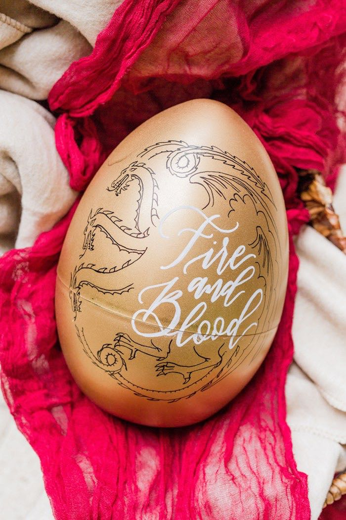 Golden Fire and Blood Egg from a Game of Thrones Wrap Party on Kara's Party Ideas | KarasPartyIdeas.com (6)