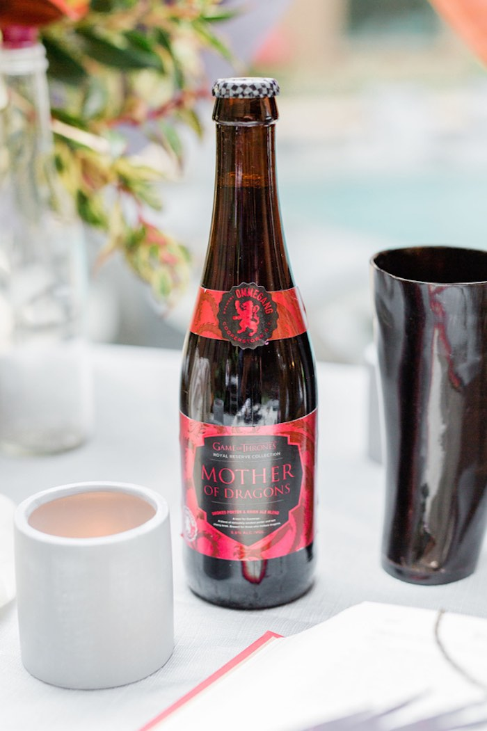 Mother of Dragons Ale + Handmade Ox Horn Mead Cup from a Game of Thrones Wrap Party on Kara's Party Ideas | KarasPartyIdeas.com (29)