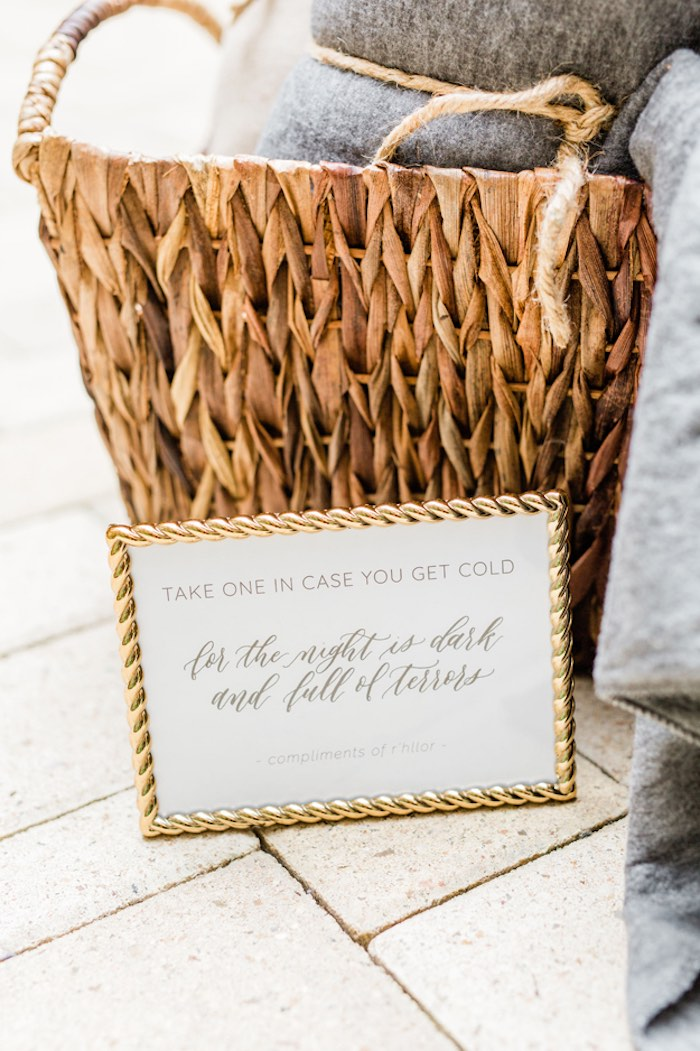 Gold-framed Signage from a Game of Thrones Wrap Party on Kara's Party Ideas | KarasPartyIdeas.com (25)