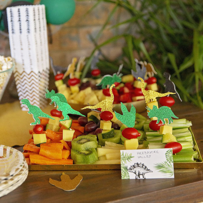 Dinosaur Fruit & Veggie Tray from a Glamorous Dinosaur Birthday Party on Kara's Party Ideas | KarasPartyIdeas.com (10)