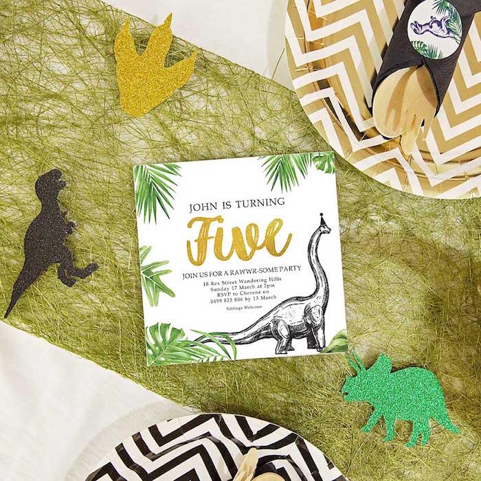 Dinosaur Party Invitation from a Glamorous Dinosaur Birthday Party on Kara's Party Ideas | KarasPartyIdeas.com (9)