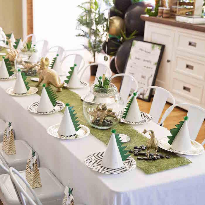 Dinosaur Themed Party Table from a Glamorous Dinosaur Birthday Party on Kara's Party Ideas | KarasPartyIdeas.com (8)