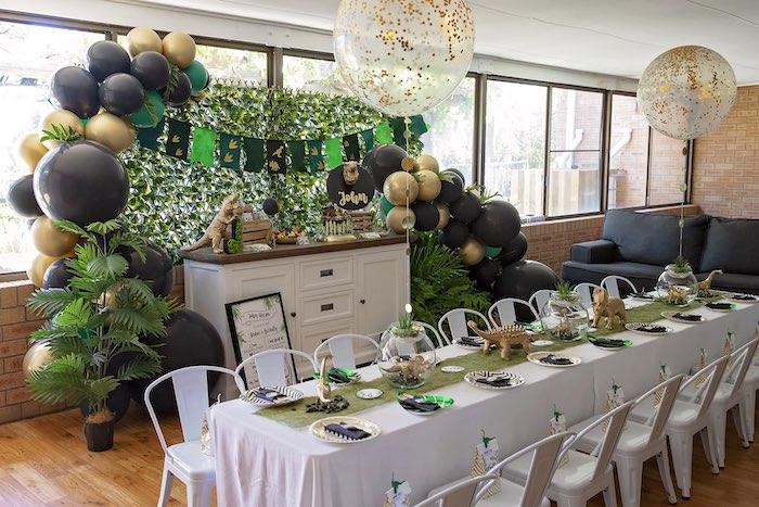 Dinosaur Themed Party Tables from a Glamorous Dinosaur Birthday Party on Kara's Party Ideas | KarasPartyIdeas.com (7)