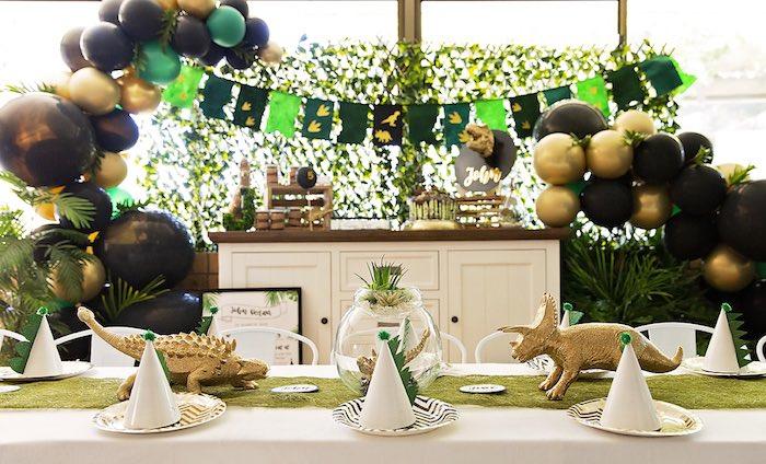 Dinosaur Themed Kid Dining Table from a Glamorous Dinosaur Birthday Party on Kara's Party Ideas | KarasPartyIdeas.com (5)