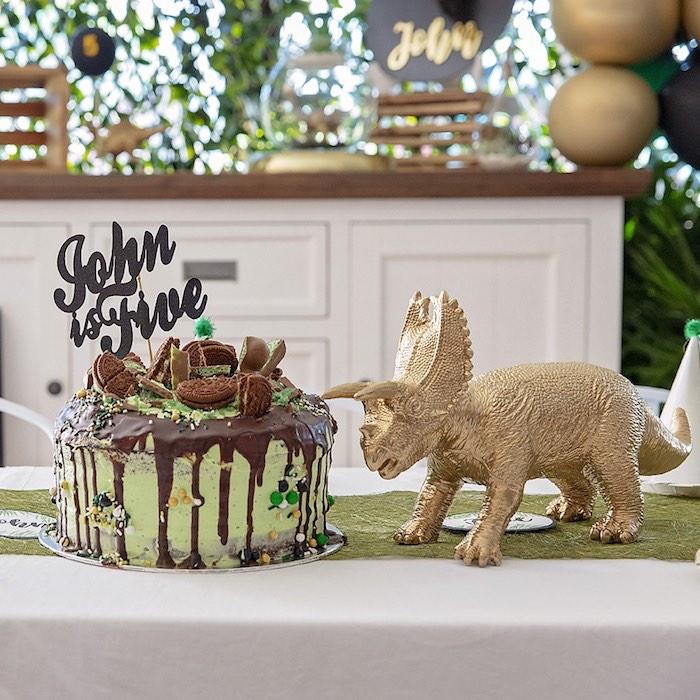 Dinosaur Themed Drip Cake from a Glamorous Dinosaur Birthday Party on Kara's Party Ideas | KarasPartyIdeas.com (21)
