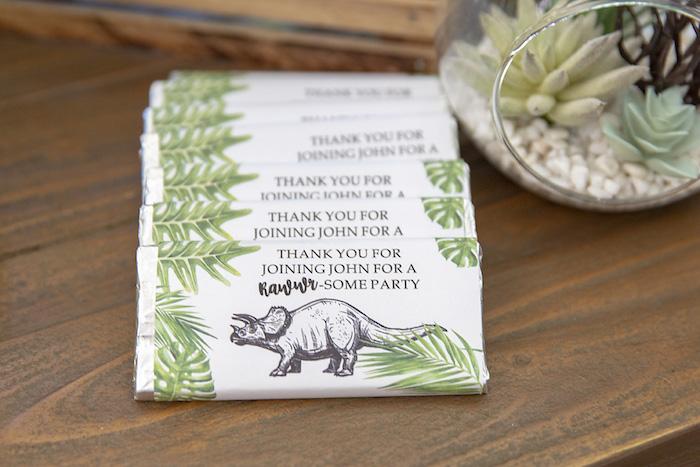 Dinosaur Labeled Candy Bar Favors from a Glamorous Dinosaur Birthday Party on Kara's Party Ideas | KarasPartyIdeas.com (20)