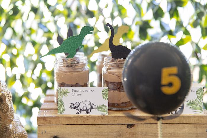 Prehistoric Dirt Dessert Cups from a Glamorous Dinosaur Birthday Party on Kara's Party Ideas | KarasPartyIdeas.com (18)