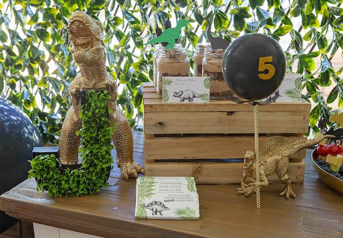 Dinosaur Dessert Table from a Glamorous Dinosaur Birthday Party on Kara's Party Ideas | KarasPartyIdeas.com (15)
