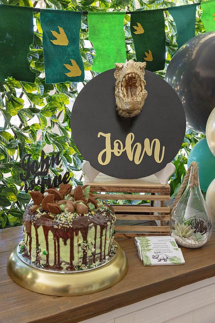 Dinosaur Drip Cake + Cake Table from a Glamorous Dinosaur Birthday Party on Kara's Party Ideas | KarasPartyIdeas.com (14)