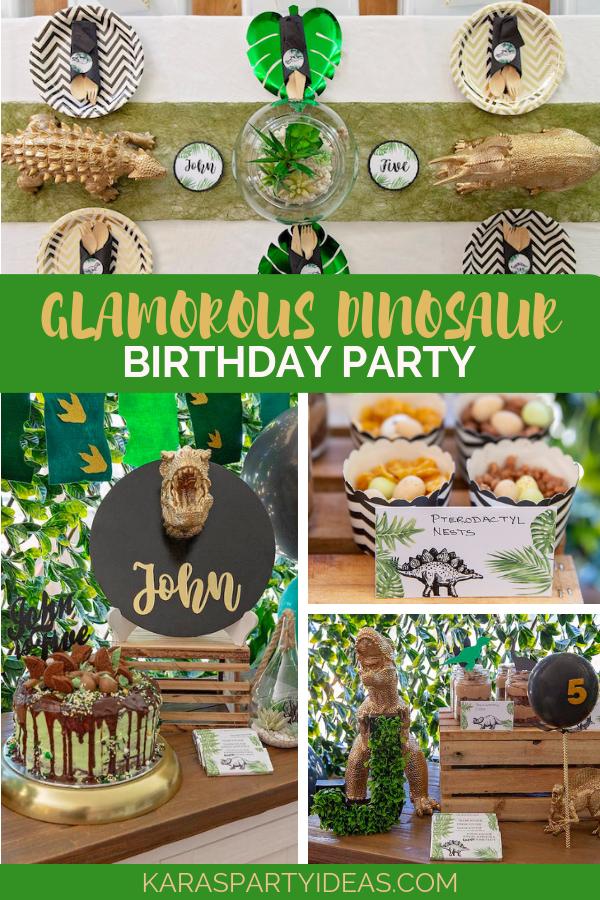 Glamorous Dinosaur Birthday Party via Kara's Party Ideas - KarasPartyIdeas.com