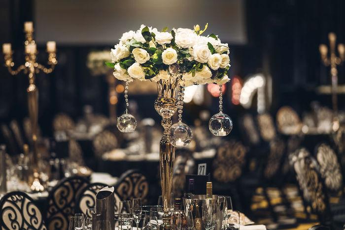 Bauble Candelabra Table Centerpiece from a Glamorous Luxury Lebanese Wedding on Kara's Party Ideas | KarasPartyIdeas.com (17)