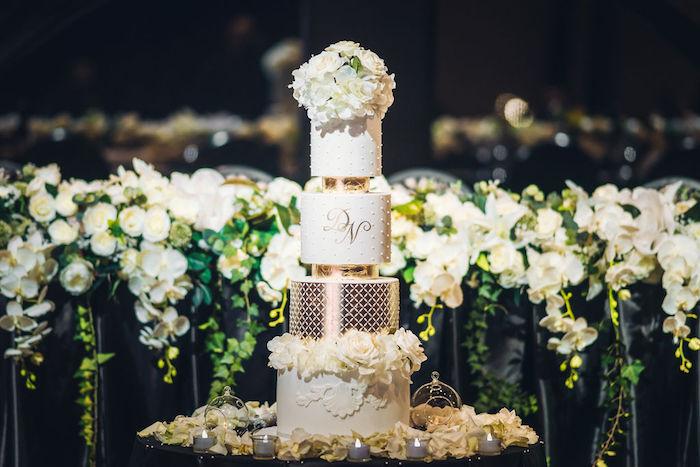White & Gold Wedding Cake from a Glamorous Luxury Lebanese Wedding on Kara's Party Ideas | KarasPartyIdeas.com (15)