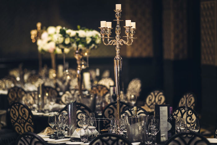 Black + Gold Guest Table with Candelabra Centerpiece from a Guest Table from a Glamorous Luxury Lebanese Wedding on Kara's Party Ideas | KarasPartyIdeas.com (12)