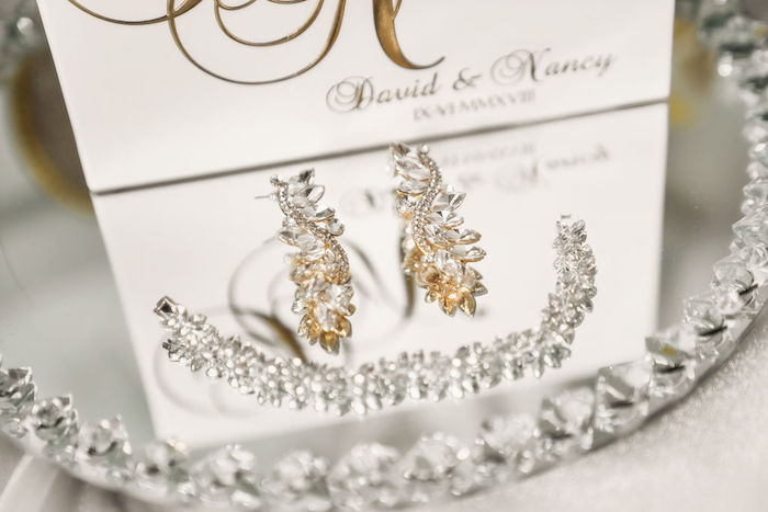 Earrings + Bracelet + Tiara from a Glamorous Luxury Lebanese Wedding on Kara's Party Ideas | KarasPartyIdeas.com (29)