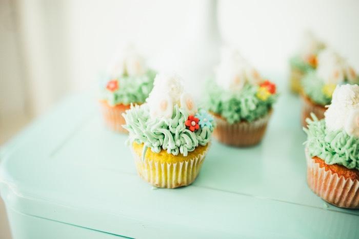 Bunny + Garden Cupcakes from a Hip Hop Easter Dance Party Play Date on Kara's Party Ideas | KarasPartyIdeas.com (37)