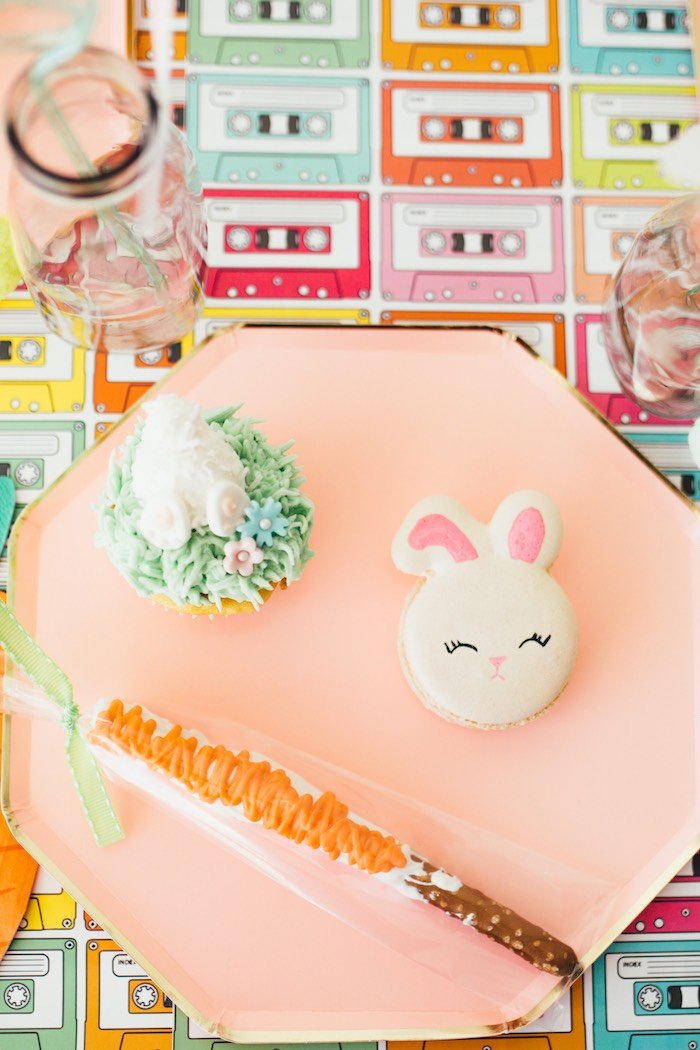 Bunny Themed Table Setting + Sweets from a Hip Hop Easter Dance Party Play Date on Kara's Party Ideas | KarasPartyIdeas.com (35)