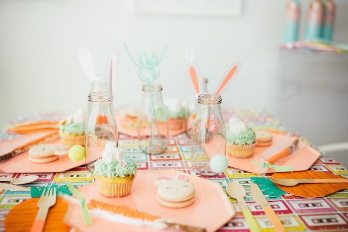 Bunny-inspired Easter Table from a Hip Hop Easter Dance Party Play Date on Kara's Party Ideas | KarasPartyIdeas.com (33)