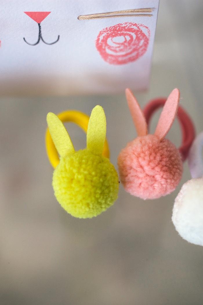 Bunny Pom Hair Ties from a Hip Hop Easter Dance Party Play Date on Kara's Party Ideas | KarasPartyIdeas.com (32)