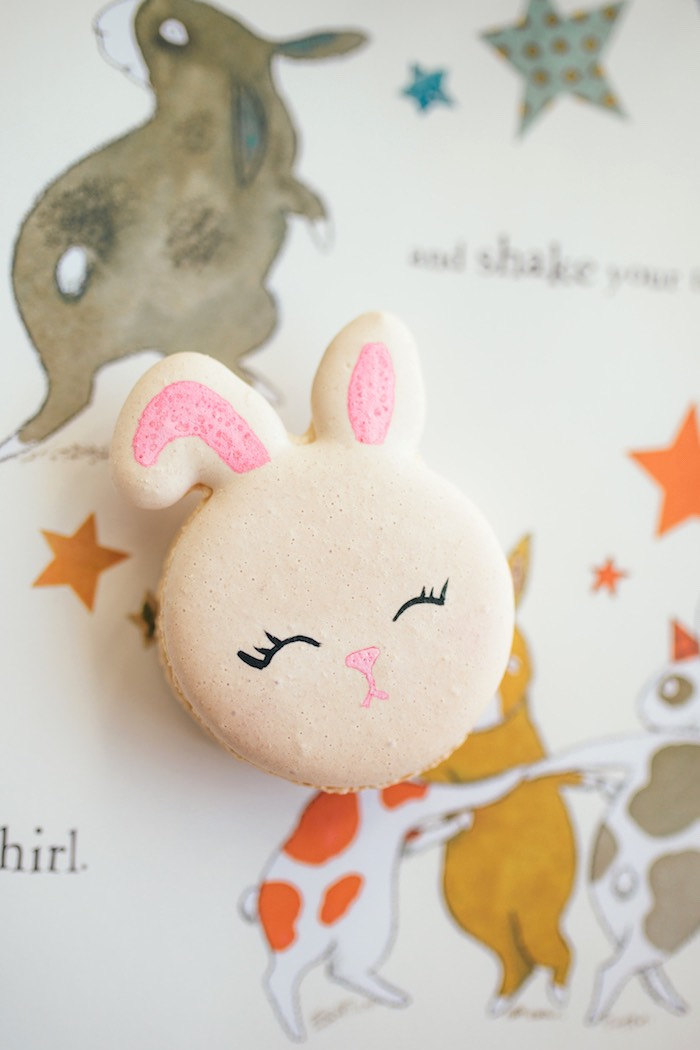 Bunny Macaron from a Hip Hop Easter Dance Party Play Date on Kara's Party Ideas | KarasPartyIdeas.com (29)