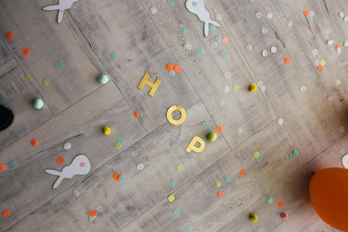 HOP - Confetti Floor from a Hip Hop Easter Dance Party Play Date on Kara's Party Ideas | KarasPartyIdeas.com (28)