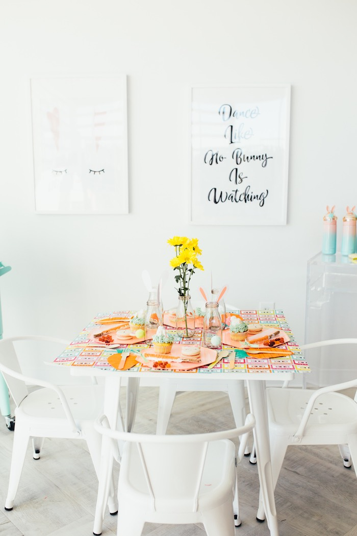 Spring Party Table from a Hip Hop Easter Dance Party Play Date on Kara's Party Ideas | KarasPartyIdeas.com (21)