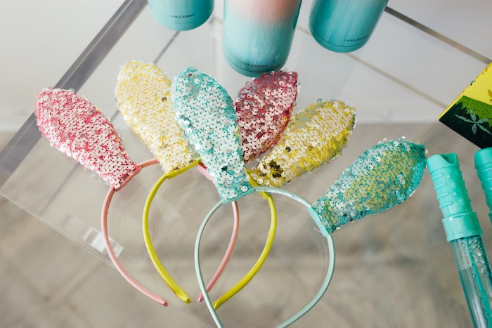 Sequin Bunny Ears from a Hip Hop Easter Dance Party Play Date on Kara's Party Ideas | KarasPartyIdeas.com (7)
