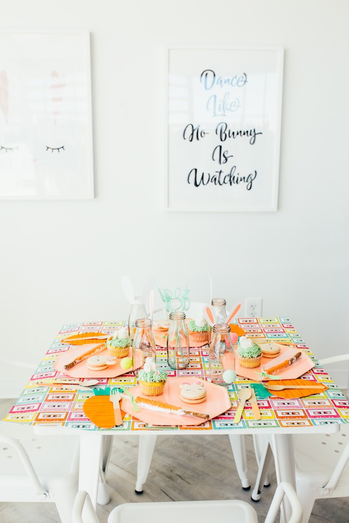 Bunny Themed Party Table from a Hip Hop Easter Dance Party Play Date on Kara's Party Ideas | KarasPartyIdeas.com (43)