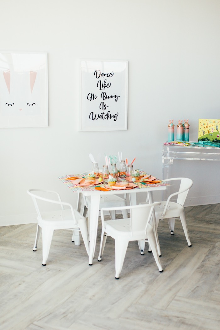 Bunny-inspired Easter Party Table from a Hip Hop Easter Dance Party Play Date on Kara's Party Ideas | KarasPartyIdeas.com (39)