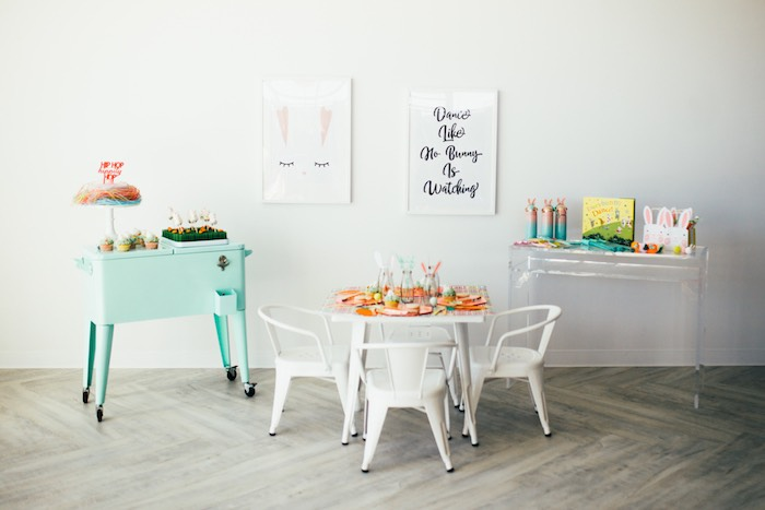 Easter Party Tables from a Hip Hop Easter Dance Party Play Date on Kara's Party Ideas | KarasPartyIdeas.com (38)