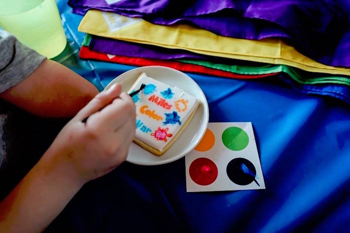 Paintable-Cookies from a Holi Inspired Color War Birthday Party on Kara's Party Ideas | KarasPartyIdeas.com (33)