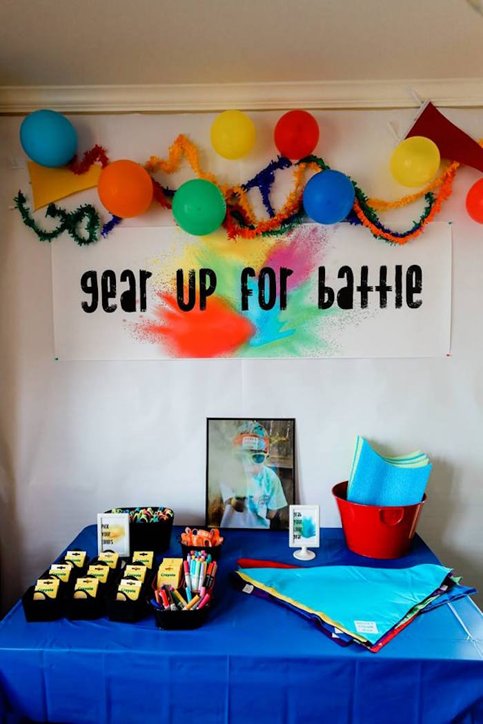 Battle Gear Station from a Holi Inspired Color War Birthday Party on Kara's Party Ideas | KarasPartyIdeas.com (27)