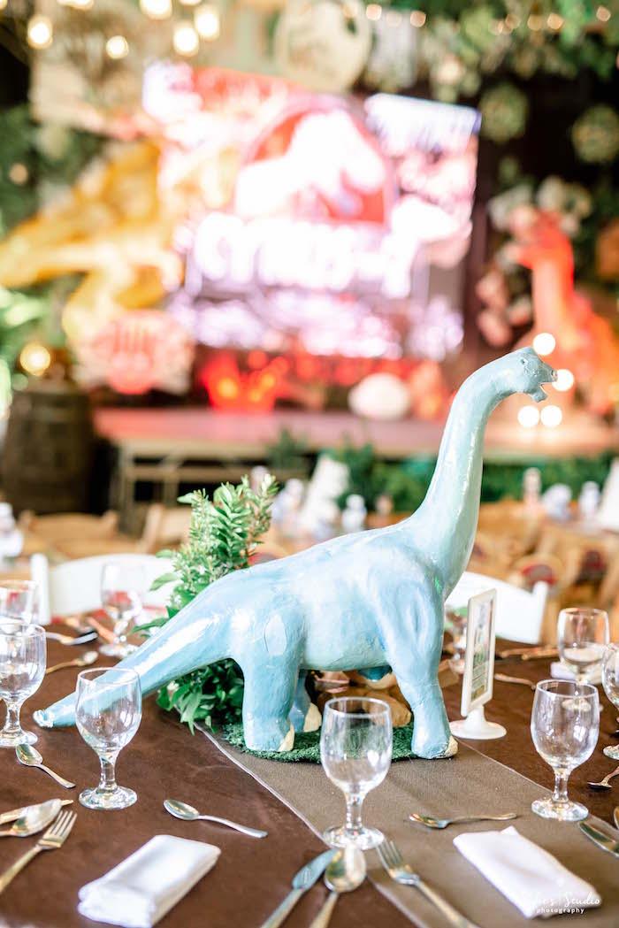 Plastic Dinosaur Table Centerpiece from a Jurassic World Birthday Party on Kara's Party Ideas | KarasPartyIdeas.com (27)