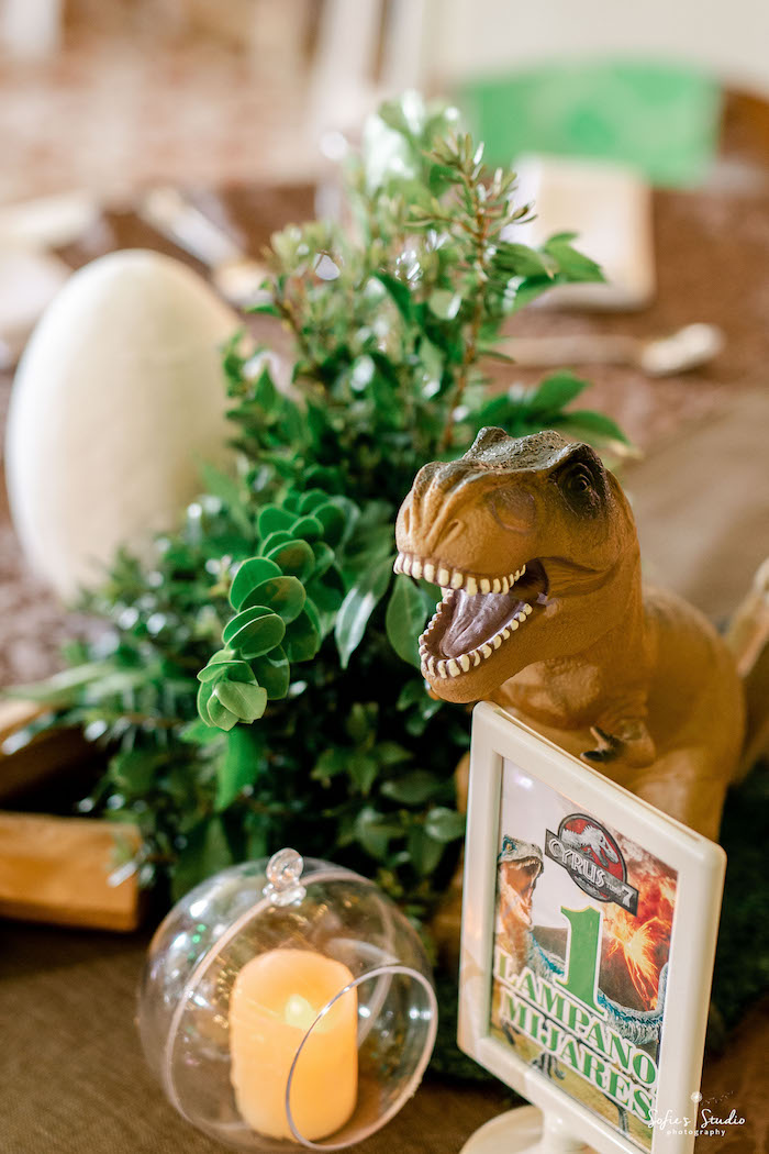 Dinosaur Party Table Centerpieces from a Jurassic World Birthday Party on Kara's Party Ideas | KarasPartyIdeas.com (26)