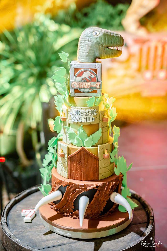 Jurassic World Dinosaur Cake from a Jurassic World Birthday Party on Kara's Party Ideas | KarasPartyIdeas.com (23)