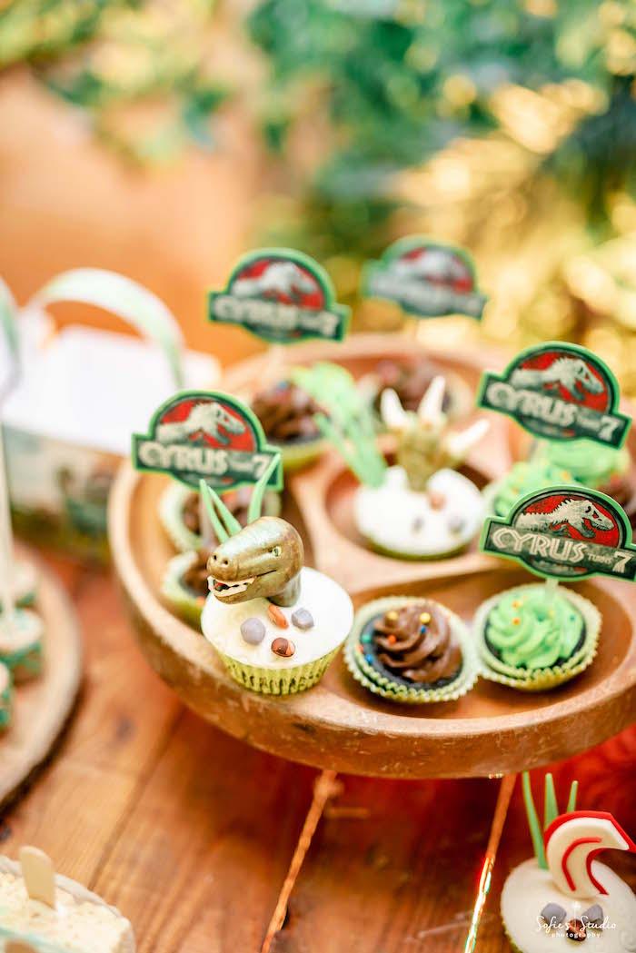 Dinosaur Themed Cupcakes from a Jurassic World Birthday Party on Kara's Party Ideas | KarasPartyIdeas.com (21)