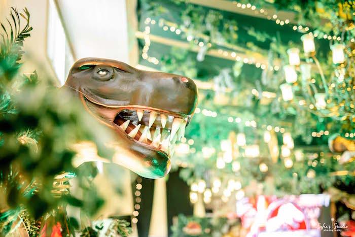 Giant Dinosaur Prop from a Jurassic World Birthday Party on Kara's Party Ideas | KarasPartyIdeas.com (20)