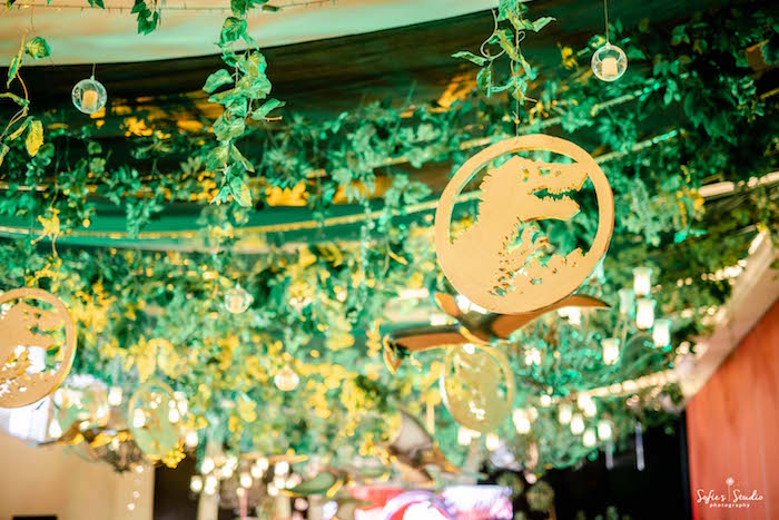 Jurassic World Jungle Ceiling from a Jurassic World Birthday Party on Kara's Party Ideas | KarasPartyIdeas.com (19)
