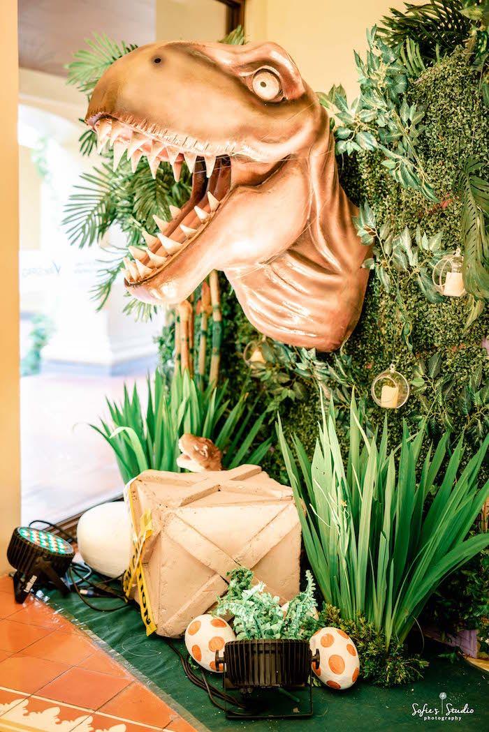 Roaring Dinosaur Jungle Backdrop from a Jurassic World Birthday Party on Kara's Party Ideas | KarasPartyIdeas.com (17)