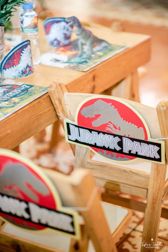 Jurassic Park Chairs from a Jurassic World Birthday Party on Kara's Party Ideas | KarasPartyIdeas.com (15)