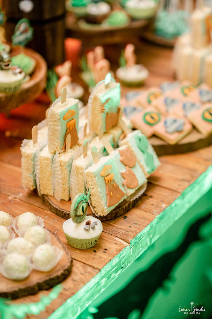Dinosaur Rice Krispie Treats from a Jurassic World Birthday Party on Kara's Party Ideas | KarasPartyIdeas.com (14)