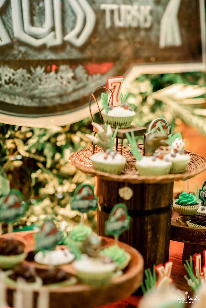 Dinosaur Cupcakes from a Jurassic World Birthday Party on Kara's Party Ideas | KarasPartyIdeas.com (13)