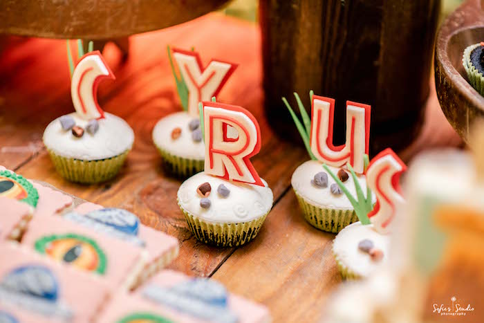 Letter Cupcakes from a Jurassic World Birthday Party on Kara's Party Ideas | KarasPartyIdeas.com (10)